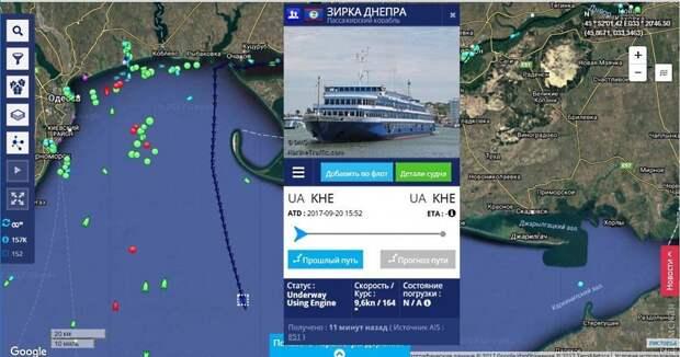 Еще один круизный теплоход сбежал из Украины в Крым