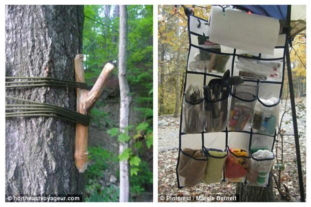 Как сделать вешалку на дереве и использовать обувной органайзер для всяких нужных мелочей кемпинг, отдых на природе, советы, туризм, хитрости