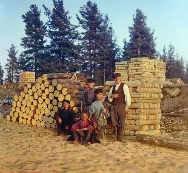 Пильщики на Вытегре. Онежское озеро, 1909 год империя., путешествия, цветное фото