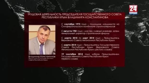 Владимира Константинова избрали на должность Председателя Государственного Совета Республики Крым