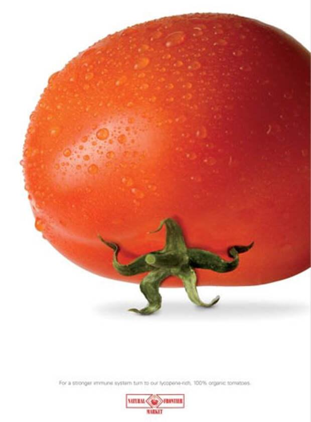 """Надпись на принте: """"Чтобы укрепить имунную систему, попробуйте наши 100%-органические помидоры, богатые ликопеном"""""""