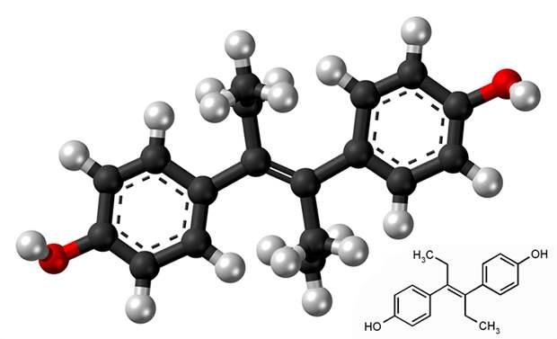 Рисунок 6. Атомная модель и химическая структура диэтилстильбэстрола «Википедия»