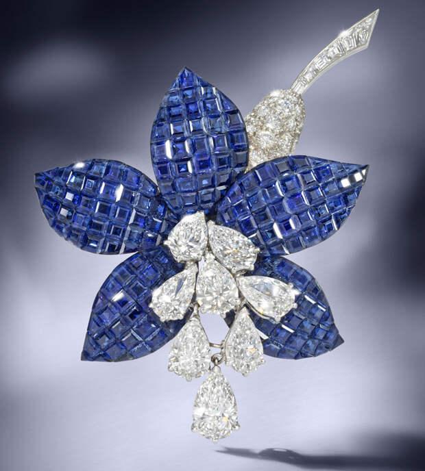 bonhams sapphire and diamond fuschia brooch van