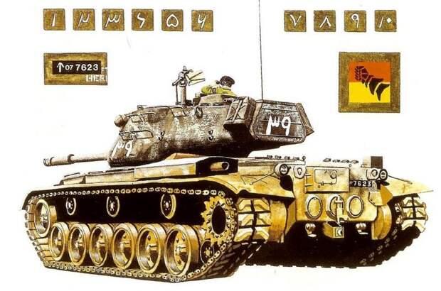Танк М-47 «Паттон II» 1-й пакистанской бронетанковой дивизии, иллюстрация из «M47 and M48 Patton Tanks» (Osprey Publishing, 1999) - Индо-пакистанская война 1965 года: танковое сражение за Асал-Утар | Военно-исторический портал Warspot.ru