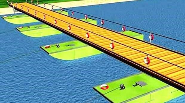 Эскиз фрагмента наплавного моста парка ТМП с герметичными понтонами авто, автоистория, военная техника, история, переправа, понтон, понтонно-мостовая переправа