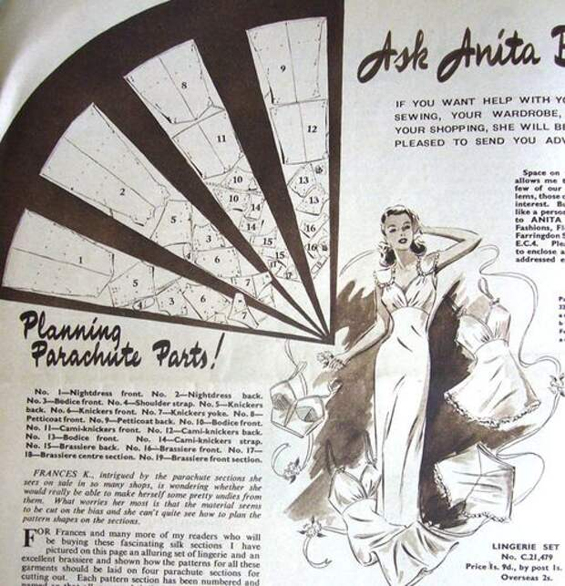 В послевоенное время в режиме жесткой экономии жили все страны Европы. Журналы Ангии и Франции дают разнообразные советы по перелицовке и переделке вещей, например , как использовать американские одеяла , поставляемые по ленд-лизу для пошива пальто. Это страница из каталога Bestway Pattern Catalogue, June 1947, в которой предлагаются выкройки пошива комплекта нижнего белья из парашютного шелка.