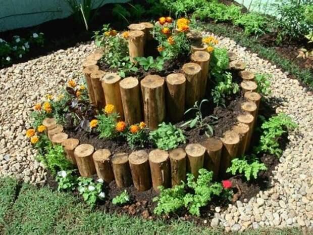 Спиральный сад с деревом. /Фото: i.pinimg.com