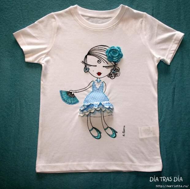 Аппликация с вышивкой на детских футболках (9) (700x699, 322Kb)