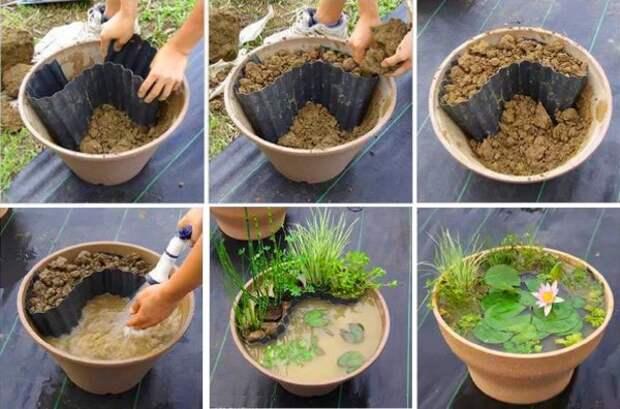 идеи для дачи делаем из кашпо мини водоем фото