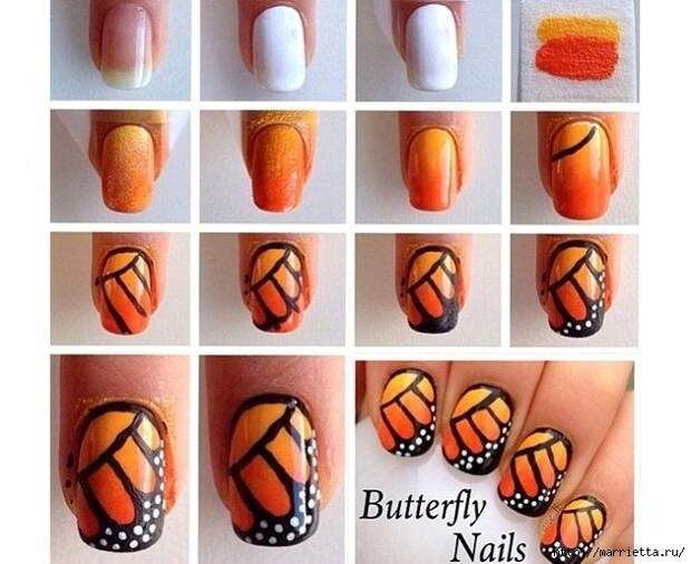 Как нарисовать бабочку на ногтях (28) (630x515, 181Kb)