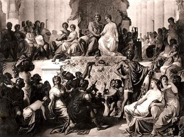 Свадьба в Сузах. Александр с женой в центре, Гефестион по его правую руку.jpg
