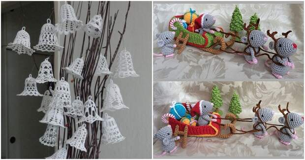 Уникальные новогодние украшения вязанные крючком