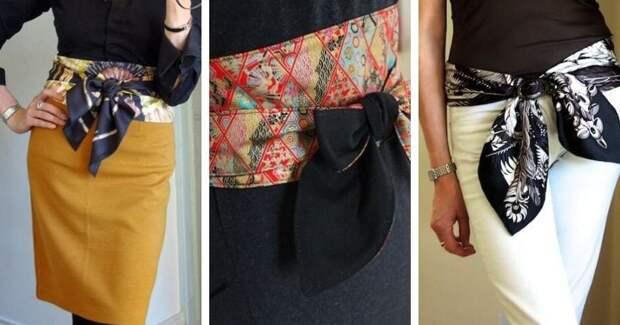 Крутая деталь на одежде: 13 идей использования тонкого платка