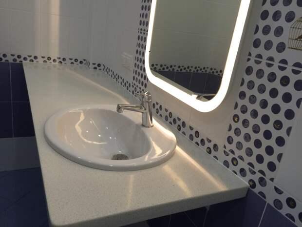 Зеркало с подсветкой для ванной, накладная раковина