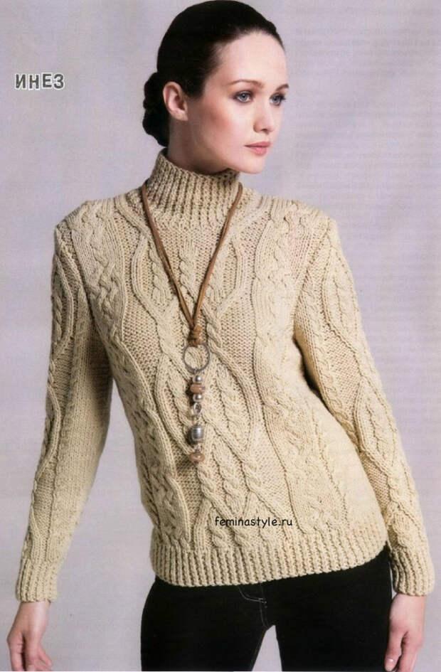 Женский свитер с аранами спицами