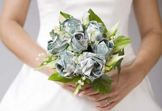 Оригами из денег - букет невесты