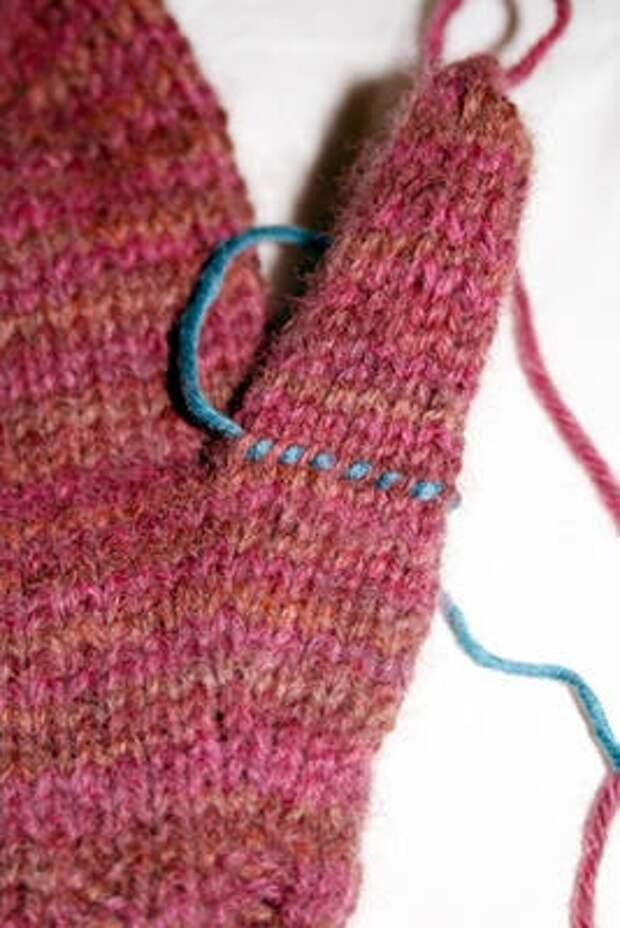 обучения вязания большого пальца для рукавицы
