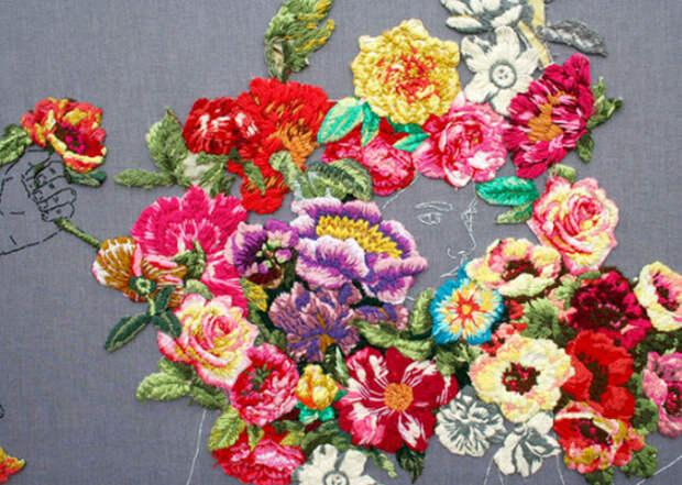 Необыкновенные пейзажи и растения на вышивках художницы Ana Teresa Barboza.