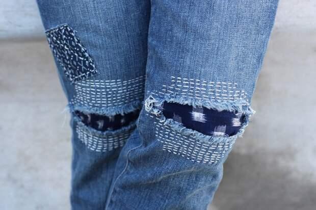 Как делать такие сашико-заплатки на джинсах - пошаговый мастер-класс