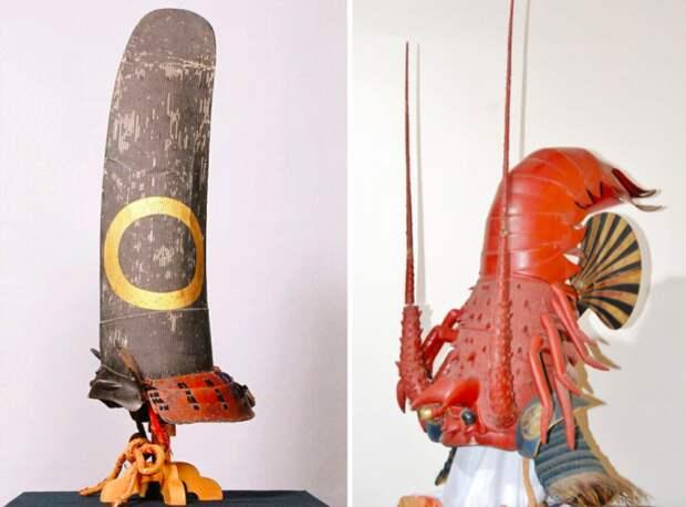 Фрагменты японского шлема кабуто.