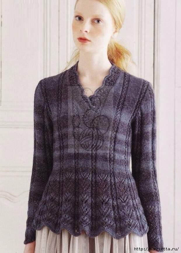 Пуловер спицами с ажурным низом (485x677, 223Kb)