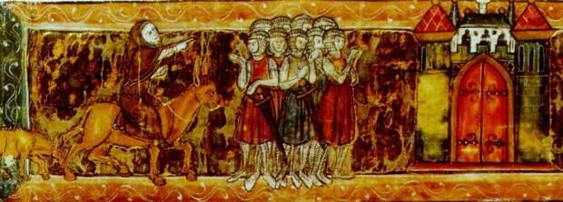 Пётр Пустынник указывает крестоносцам путь в Иерусалим. Французская миниатюра (около 1270 г.)