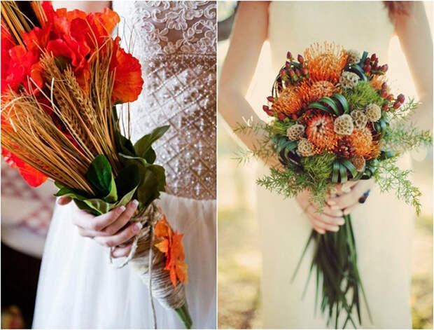 25 потрясающих осенних букетов невесты