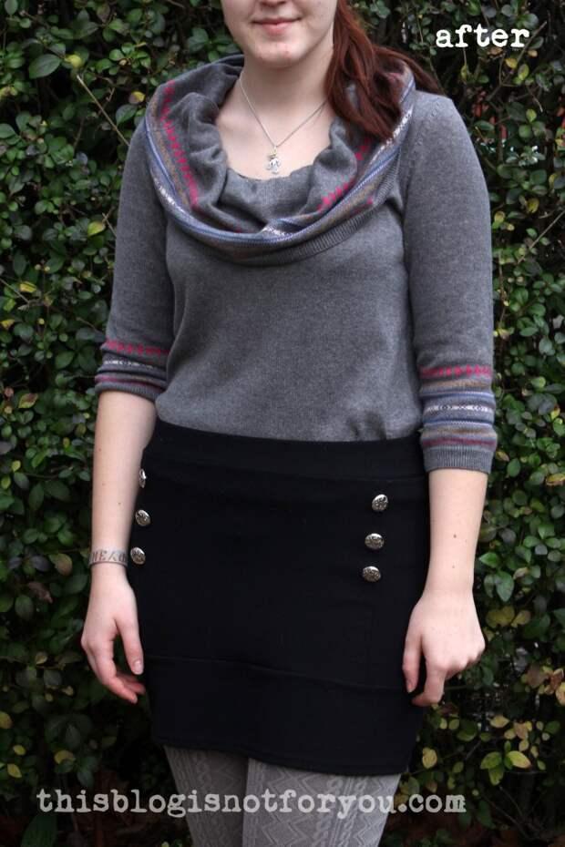 Платье-свитер в свитер-хомут (Diy)