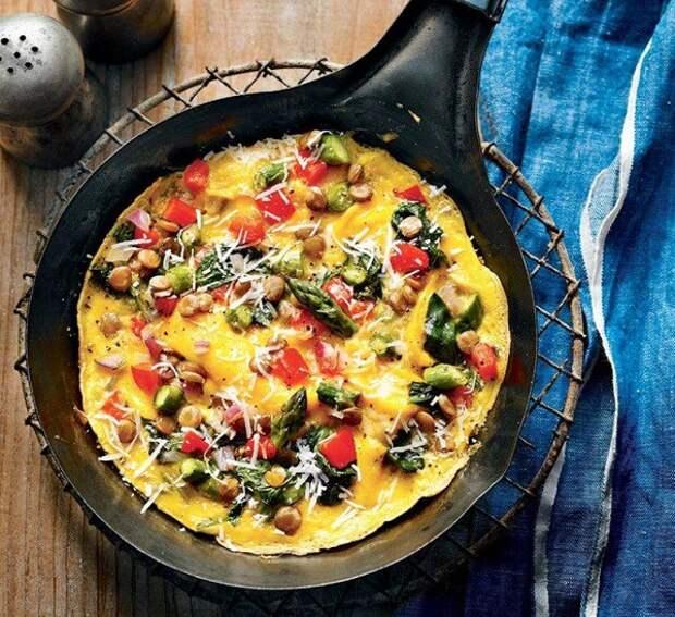 Омлет с зеленью и овощами блюдо, еда, завтрак, здоровье, полезное