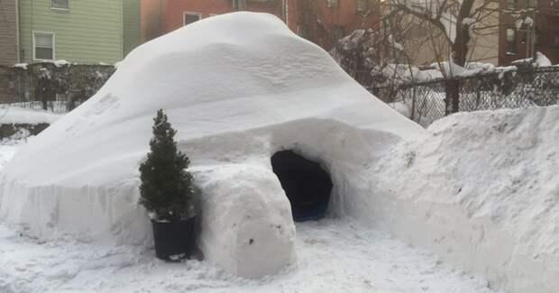 После снежной бури в Бруклине мужчина построил иглу и выставил зимнее жилище в аренду аренда, иглу, снег