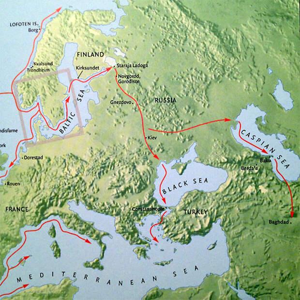 Схема путешествия отрядов викингов.