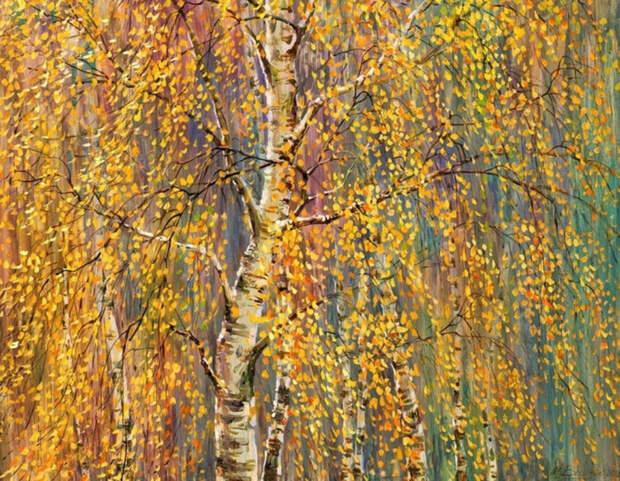 Березовый ливень, 2009 .Художник Мария Вишняк (700x543, 596Kb)