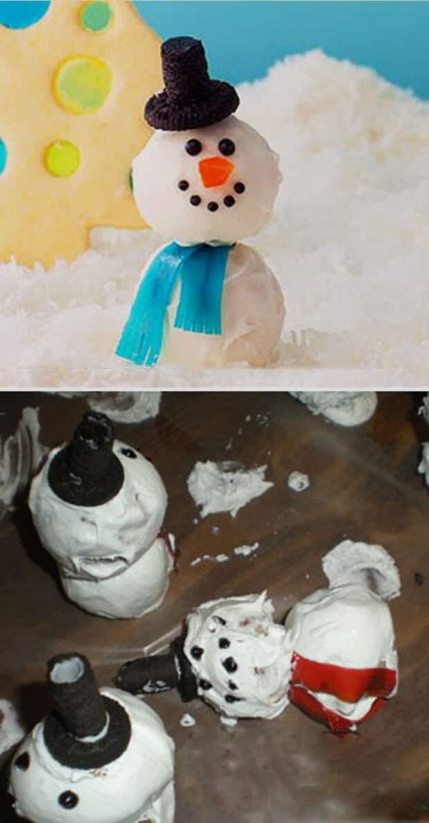 Снеговик-пончик еда, ожидание, провал, реальность
