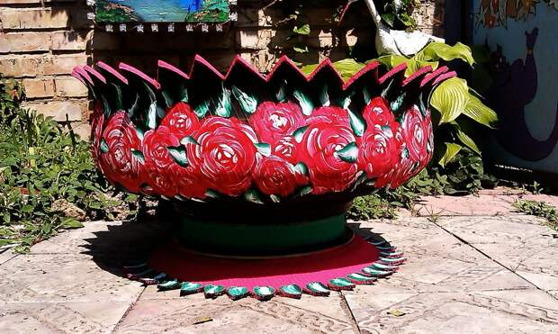 ваза из шины,мастер классс,мк,ваза из покрышки.вазон из автопокрышки,клумбы для цветов из старых автомобильных покрышек,своими руками.обустройство приусадебного участка,идеи для дачи,цветочные вазы из отходных материалов,идеи для сада,двора,напольные вазы