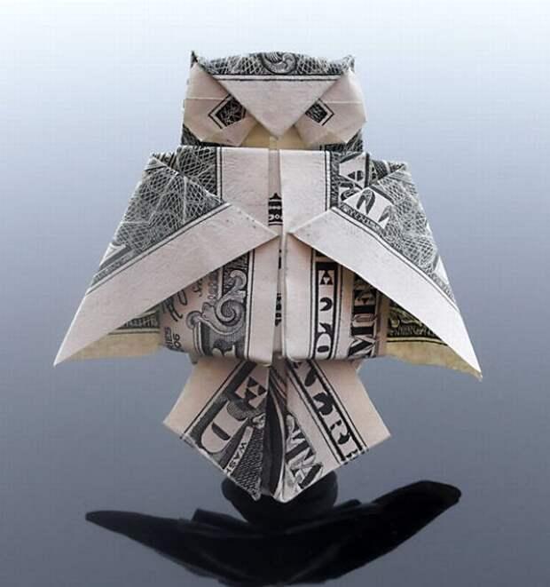 Оригами из денег - сова