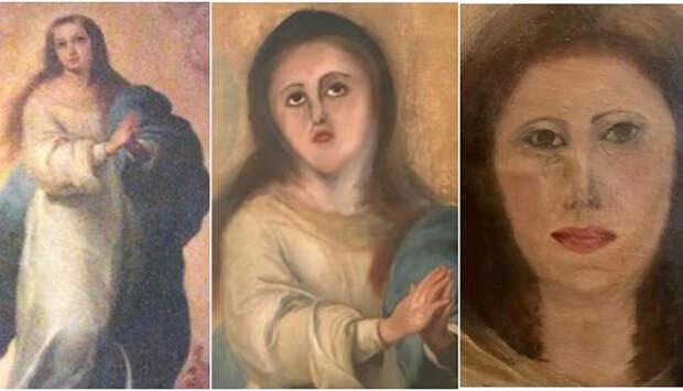 Как Деве Марии на старинной картине сделали неудачную пластику: Эпический вандализм
