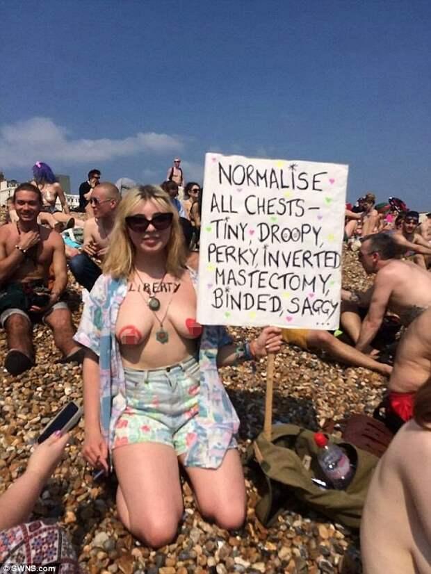 Свободу соскам! Сотни женщин обнажили грудь в знак протеста против сексизма