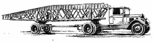 Эскиз седельного тягача ЗИС-5 с секцией металлического моста РММ-2 авто, автоистория, военная техника, история, переправа, понтон, понтонно-мостовая переправа