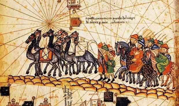 Евразия 14 века, в Каталонском атласе 1375 года.
