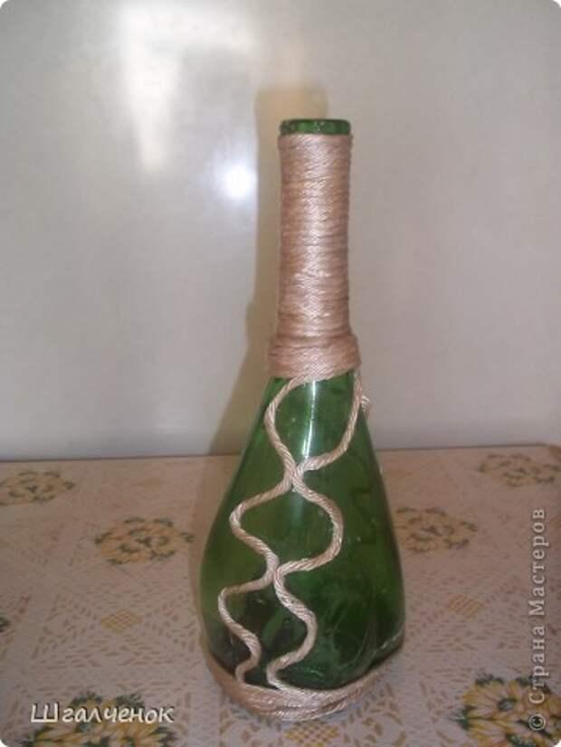 Декор предметов, Мастер-класс,  Аппликация, : КРАСАВИЦА МК Бутылки, Краска, Крупа . Фото 4