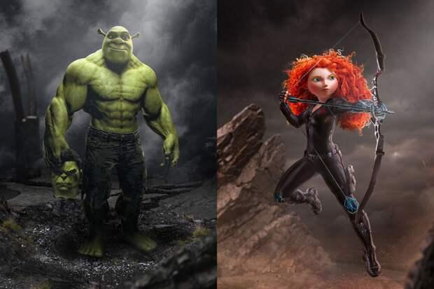 Парень создает необычные иллюстрации, объединяя похожих персонажей фильмов
