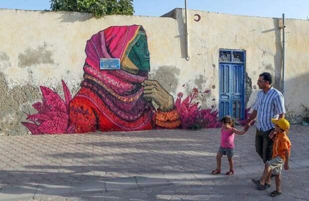150 уличных художников из 30 стран, превратили старую деревушку Эр-Рияд в Тунисе в настоящую галерею под открытым небом (12)