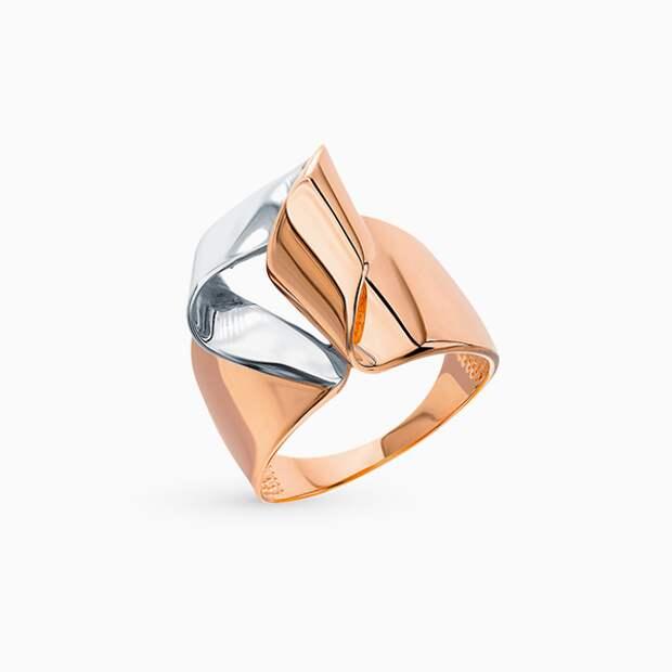 Кольцо DEL'TA, розовое и белое золото