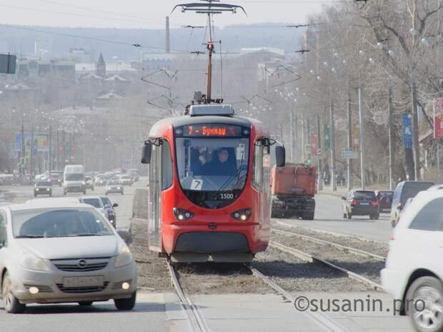 Движение трамваев временно ограничили на участке улицы Кирова в Ижевске