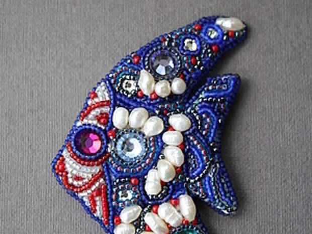 Брошь  рыбка, handmade