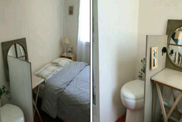 Унитаз в интерьере спальни. | Фото: Тролльно.