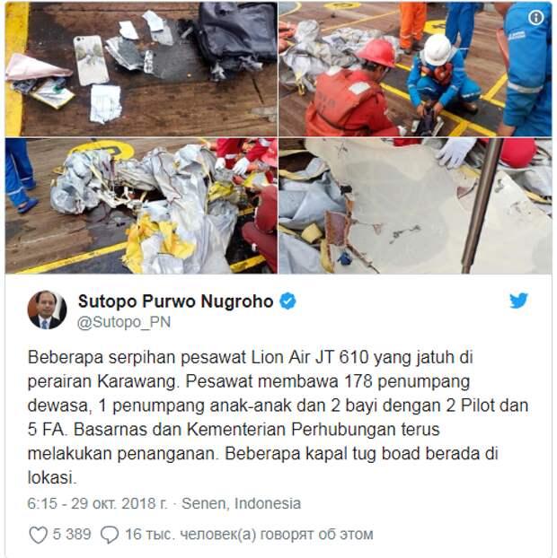 В Сети появился ролик с места крушения самолета Lion Air (ВИДЕО, ФОТО)