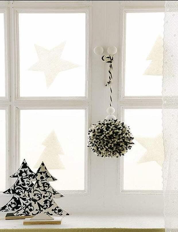 Украшаем окна к Новому году