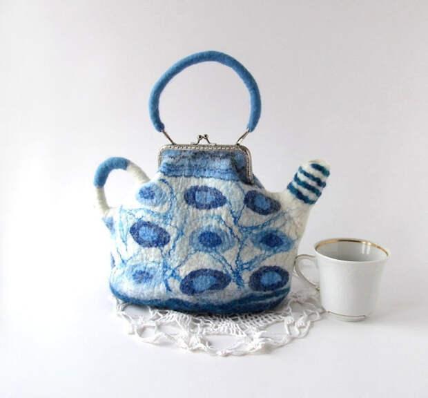 Felted teapot  purse Blue white handbag