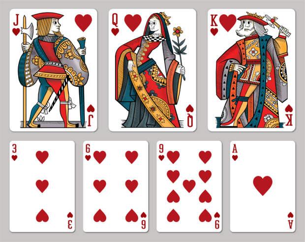 Из-за цвета насекомого его прозвали червецом, как производное от слова червонный, так и появилось название масти / Фото: maxplayingcards.com
